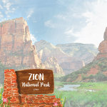 Scrapbook Customs - United States National Parks Collection - 12 x 12 Double Sided Paper - Watercolor - Zion