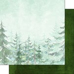 Scrapbook Customs - United States National Parks Collection - 12 x 12 Double Sided Paper - Tree and Green Paint Brush