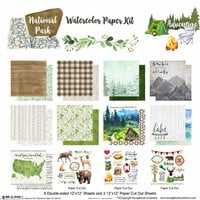 Scrapbook Customs - United States National Parks Collection - 12 x 12 Paper Pack - Watercolor