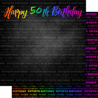 Scrapbook Customs - Neon Birthday Collection - 12 x 12 Double Sided Paper - 50th Birthday