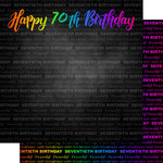 Scrapbook Customs - Neon Birthday Collection - 12 x 12 Double Sided Paper - 70th Birthday