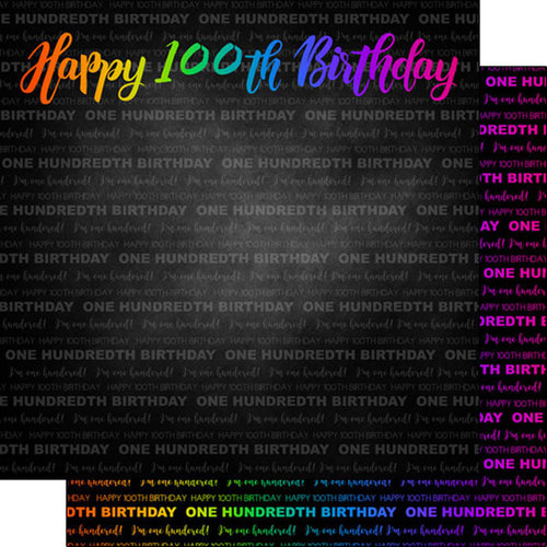 Scrapbook Customs - Neon Birthday Collection - 12 x 12 Double Sided Paper - 100th Birthday