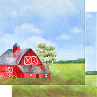 Scrapbook Customs - Farm Watercolor Collection - 12 x 12 Double Sided Paper - Barn