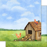 Scrapbook Customs - Farm Watercolor Collection - 12 x 12 Double Sided Paper - Chicken