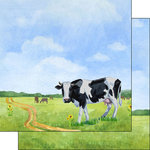 Scrapbook Customs - Farm Watercolor Collection - 12 x 12 Double Sided Paper - Cow