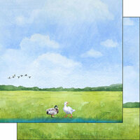 Scrapbook Customs - Farm Watercolor Collection - 12 x 12 Double Sided Paper - Duck