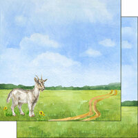 Scrapbook Customs - Farm Watercolor Collection - 12 x 12 Double Sided Paper - Goat