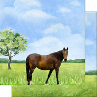 Scrapbook Customs - Farm Watercolor Collection - 12 x 12 Double Sided Paper - Horse