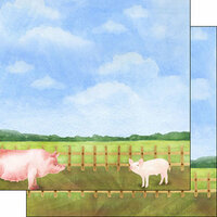 Scrapbook Customs - Farm Watercolor Collection - 12 x 12 Double Sided Paper - Pig