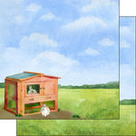 Scrapbook Customs - Farm Watercolor Collection - 12 x 12 Double Sided Paper - Rabbit