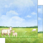 Scrapbook Customs - Farm Watercolor Collection - 12 x 12 Double Sided Paper - Sheep