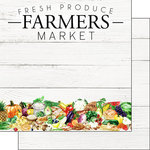 Scrapbook Customs - Farm Watercolor Collection - 12 x 12 Double Sided Paper - Farmers Market
