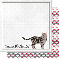 Scrapbook Customs - I Love My Cat Collection - 12 x 12 Double Sided Paper - American Shorthair - Breed