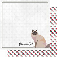 Scrapbook Customs - I Love My Cat Collection - 12 x 12 Double Sided Paper - Birman - Breed