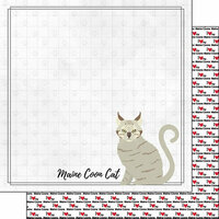 Scrapbook Customs - I Love My Cat Collection - 12 x 12 Double Sided Paper - Maine Coon - Breed