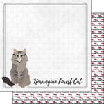 Scrapbook Customs - I Love My Cat Collection - 12 x 12 Double Sided Paper - Norwegian Forest - Breed