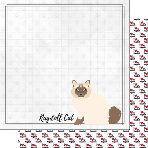 Scrapbook Customs - I Love My Cat Collection - 12 x 12 Double Sided Paper - Ragdoll - Breed