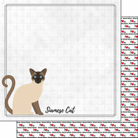 Scrapbook Customs - I Love My Cat Collection - 12 x 12 Double Sided Paper - Siamese - Breed