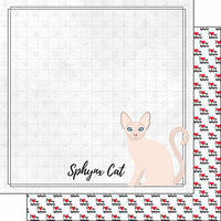 Scrapbook Customs - I Love My Cat Collection - 12 x 12 Double Sided Paper - Sphynx - Breed