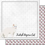 Scrapbook Customs - I Love My Cat Collection - 12 x 12 Double Sided Paper - Turkish Angora - Breed