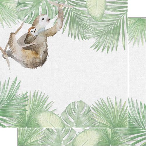 Scrapbook Customs - Safari Watercolor Collection - 12 x 12 Double Sided Paper - Sloth Safari