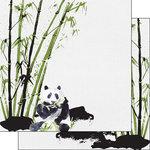 Scrapbook Customs - Safari Watercolor Collection - 12 x 12 Double Sided Paper - Panda Safari
