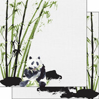Scrapbook Customs - Safari Watercolor Collection - 12 x 12 Double Sided Paper - Panda Safari