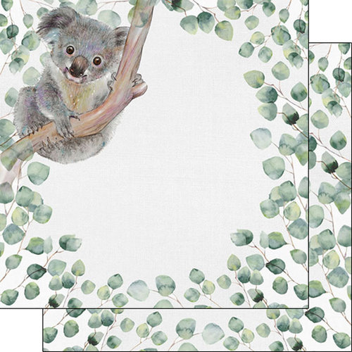 Scrapbook Customs - Safari Watercolor Collection - 12 x 12 Double Sided Paper - Koala Safari