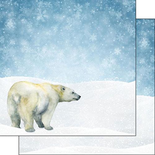 Scrapbook Customs - Safari Watercolor Collection - 12 x 12 Double Sided Paper - Polar Bear Safari