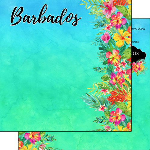 Scrapbook Customs - Getaway Collection - 12 x 12 Double Sided Paper - Barbados Getaway