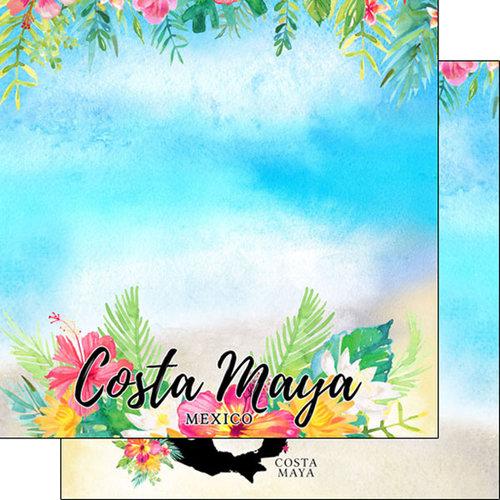 Scrapbook Customs - Getaway Collection - 12 x 12 Double Sided Paper - Costa Maya Getaway