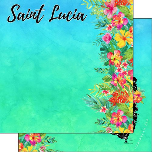 Scrapbook Customs - Getaway Collection - 12 x 12 Double Sided Paper - St. Lucia Getaway