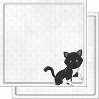 Scrapbook Customs - Cat Lovers Collection - 12 x 12 Double Sided Paper - Black Generic Cat