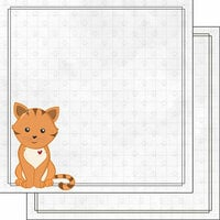 Scrapbook Customs - Cat Lovers Collection - 12 x 12 Double Sided Paper - Orange Generic Cat