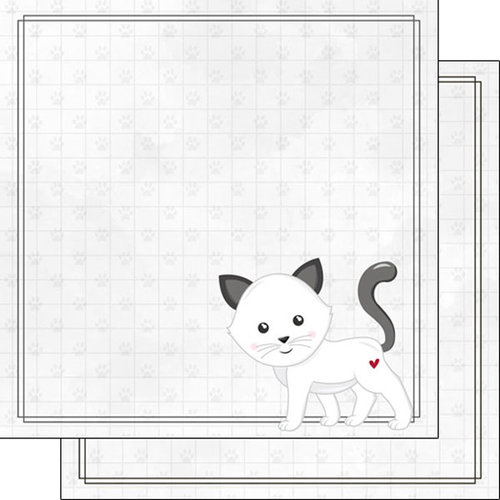 Scrapbook Customs - Cat Lovers Collection - 12 x 12 Double Sided Paper - White Generic Cat