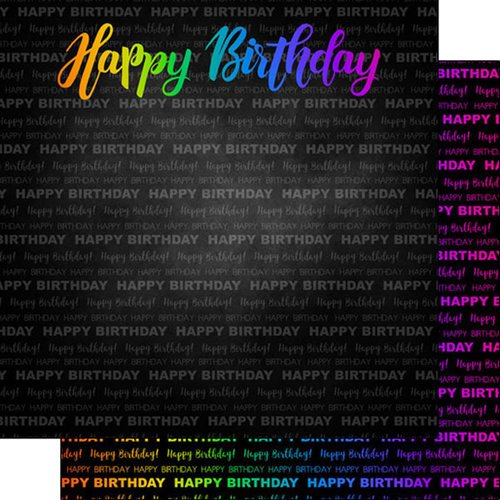 Scrapbook Customs - Neon Birthday Collection - 12 x 12 Double Sided Paper - Happy Birthday