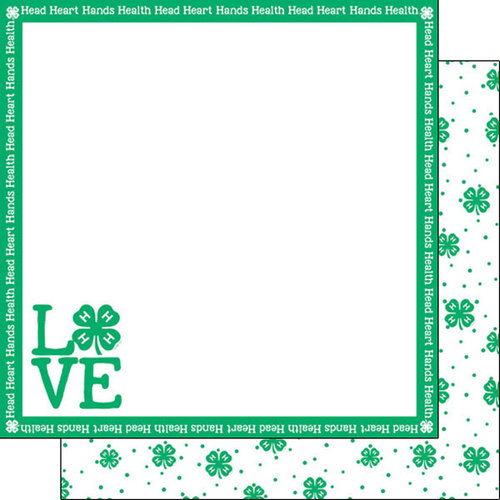 Scrapbook Customs - 4-H Collection - 12 x 12 Double Sided Paper - Love
