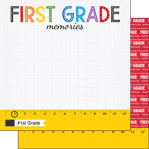 Scrapbook Customs - School Rulers Collection - 12 x 12 Double Sided Paper - 1st Grade