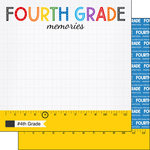 Scrapbook Customs - School Rulers Collection - 12 x 12 Double Sided Paper - 4th Grade