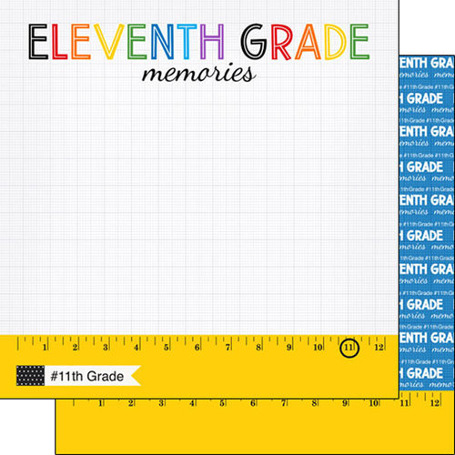 Scrapbook Customs - School Rulers Collection - 12 x 12 Double Sided Paper - 11th Grade