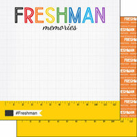 Scrapbook Customs - School Rulers Collection - 12 x 12 Double Sided Paper - Freshman