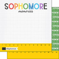 Scrapbook Customs - School Rulers Collection - 12 x 12 Double Sided Paper - Sophomore