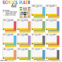 Scrapbook Customs - School Rulers Collection - 12 x 12 Paper Pack