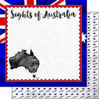 Scrapbook Customs - Sights Collection - 12 x 12 Double Sided Paper - Flag - Australia