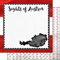 Scrapbook Customs - Sights Collection - 12 x 12 Double Sided Paper - Flag - Austria