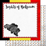Scrapbook Customs - Sights Collection - 12 x 12 Double Sided Paper - Flag - Belgium