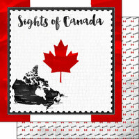 Scrapbook Customs - Sights Collection - 12 x 12 Double Sided Paper - Flag - Canada