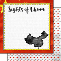 Scrapbook Customs - Sights Collection - 12 x 12 Double Sided Paper - Flag - China