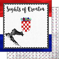 Scrapbook Customs - Sights Collection - 12 x 12 Double Sided Paper - Flag - Croatia