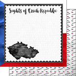 Scrapbook Customs - Sights Collection - 12 x 12 Double Sided Paper - Flag - Czech Republic